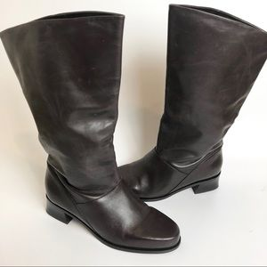 markon brown shelly mid calf boots size 7.5